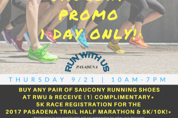 Saucony 1 Day Only Promo   Sept 21