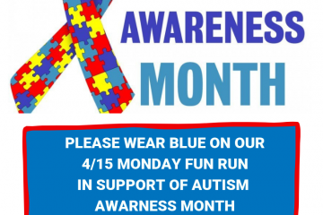 Wear Blue for Autism Awareness  Month on 4/15